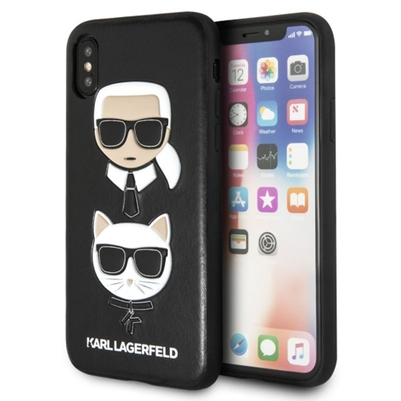Karl Lagerfeld Embossed Case Karl & Choupette - Etui iPhone X (czarny)