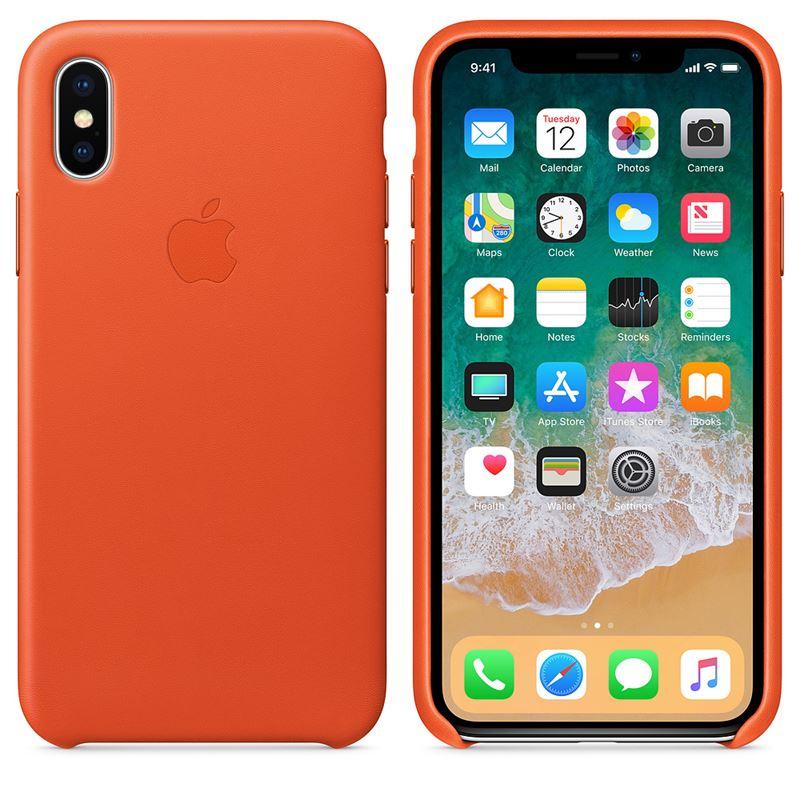 Apple Leather Case - Skórzane etui iPhone X (soczysta pomarańcza)
