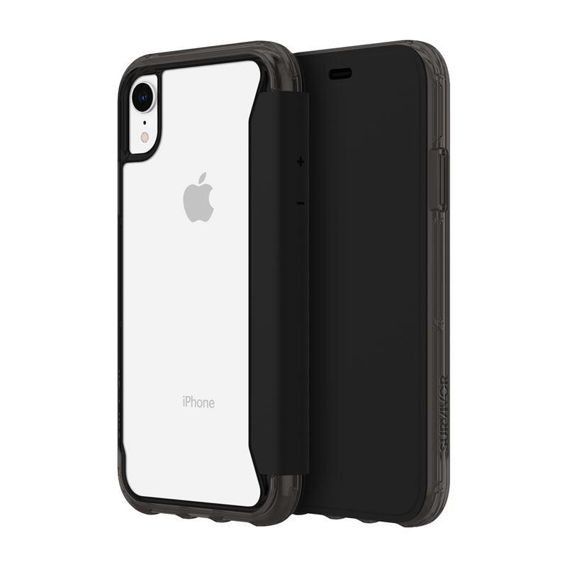 Griffin Survivor Clear Wallet - Etui z klapką iPhone XR (czarny/przezroczysty)
