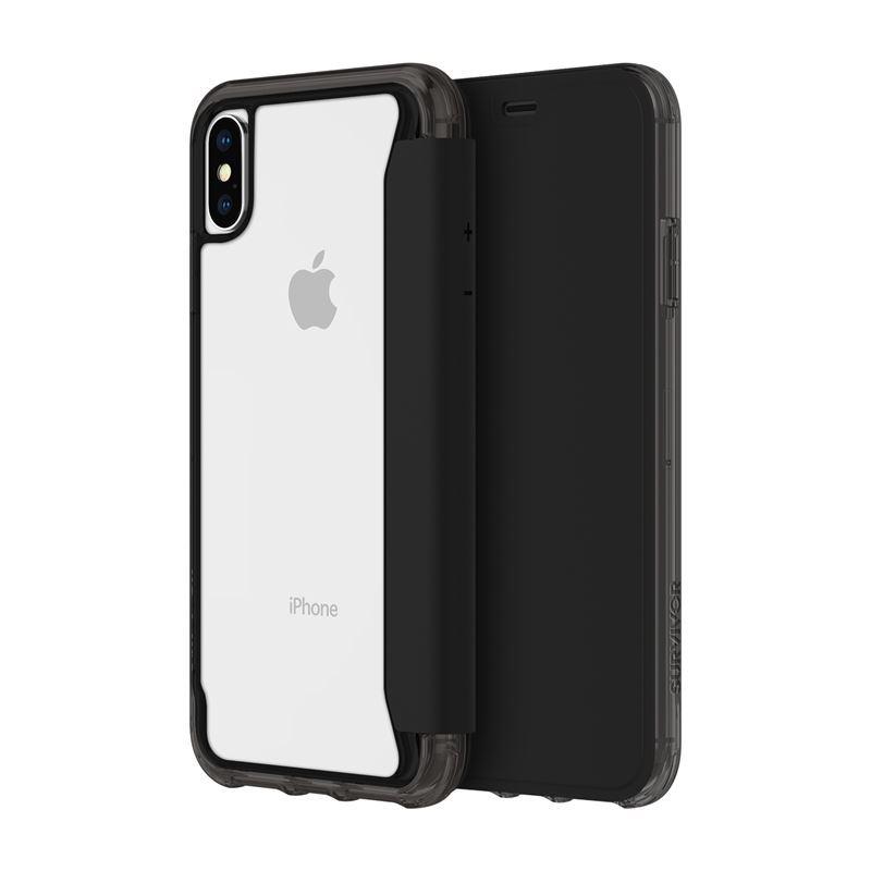 Griffin Survivor Clear Wallet - Etui z klapką iPhone Xs (czarny/przezroczysty)