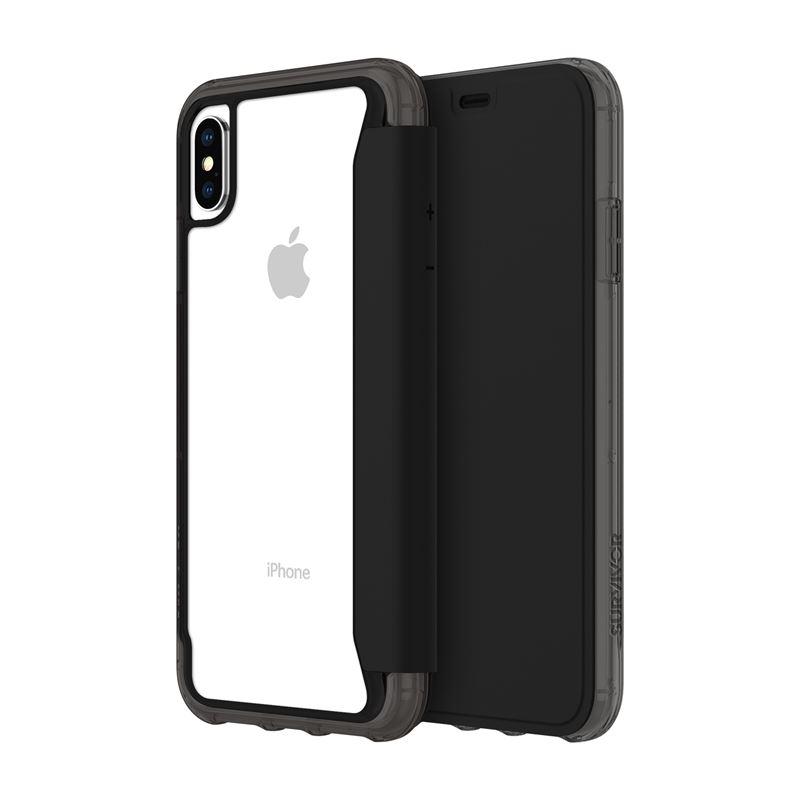 Griffin Survivor Clear Wallet - Etui z klapką iPhone Xs Max (czarny/przezroczysty)