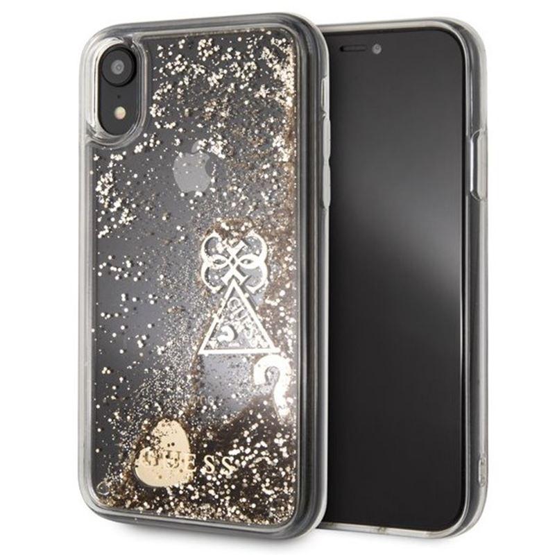 Guess Liquid Glitter Hearts - Etui iPhone XR (złoty)