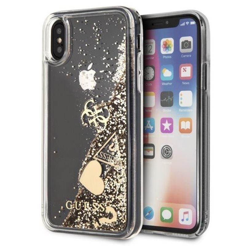 Guess Liquid Glitter Hearts - Etui iPhone Xs Max (złoty)