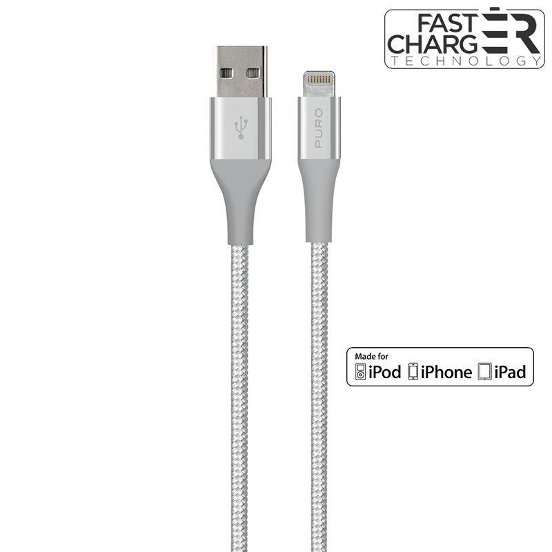PURO Fabric K2 Cable - Kabel połączeniowy z Kevlaru USB Apple złącze Lightning, MFi, 1.2 m (Silver)