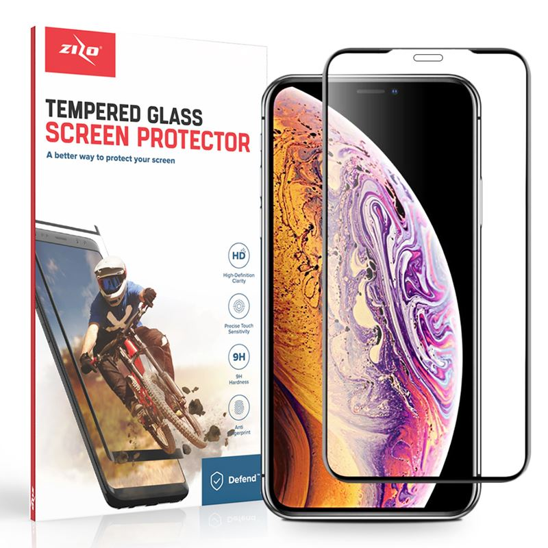 Zizo Full Glue Curved Glass - Szkło hartowane 9H 0.33mm klejone na całej powierzchni, na cały ekran iPhone Xs Max (czarna ramka)