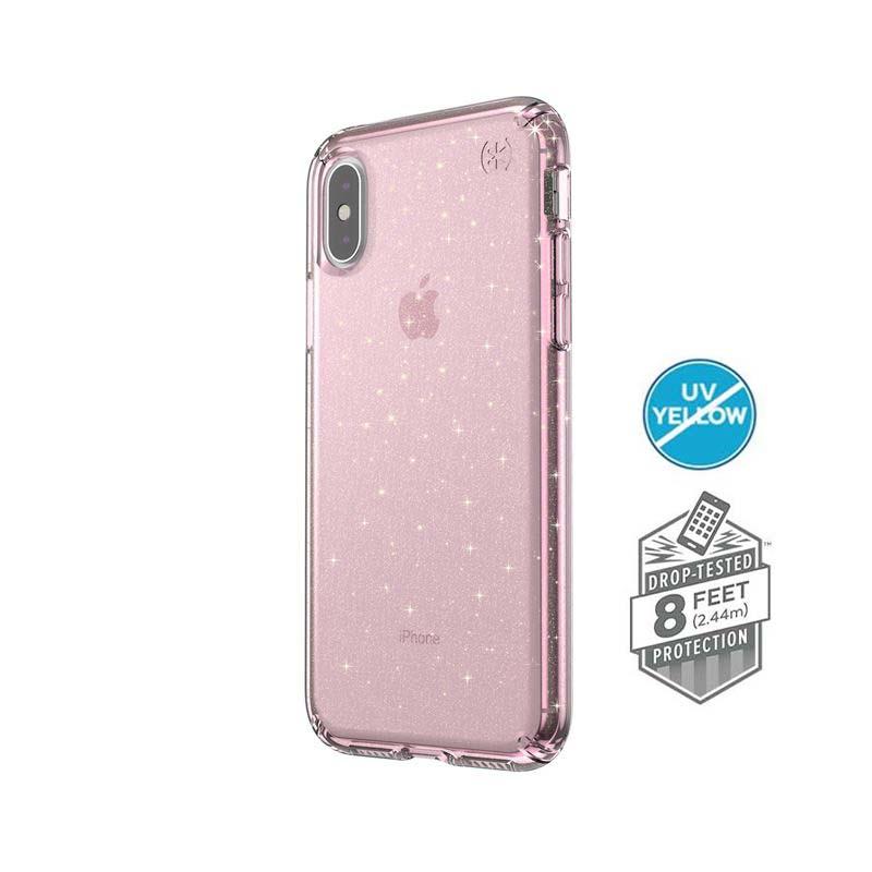 Speck Presidio Clear with Glitter - Etui iPhone Xs / X (BELLA PINK WITH GOLD GLITTER/BELLA PINK)