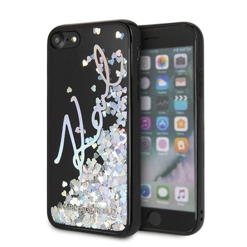 Karl Lagerfeld Signature Glitter Case Iridescent Black - Etui iPhone 8 / 7 (Glitter Sequins)