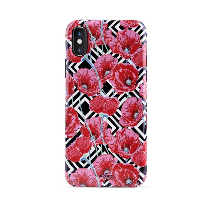 PURO Glam Geo Flowers - Etui iPhone Xs / X (Red Poppies)