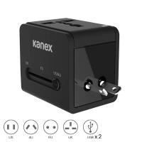 Kanex International Power Adapter - Podróżny adapter zasilania US / AU / EU / UK + 2 x USB, 2.1 A (Black)