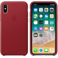 Apple Leather Case - Skórzane etui iPhone X (czerwony) (PRODUCT)RED