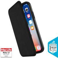 Speck Presidio Folio Leather - Etui skórzane iPhone XR z kieszenią na karty + stand up (Black/Black)